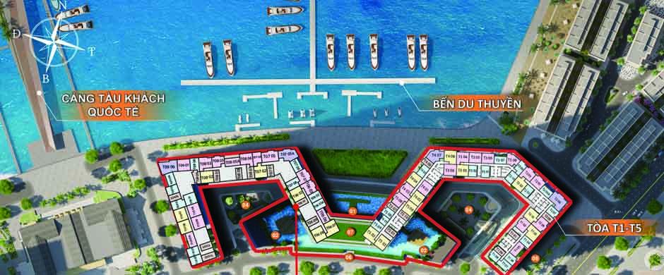 Mặt bằng quy hoạch 2 toà chung cư sun group bãi cháy hạ long